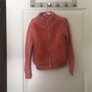 Girls GAP Kids Pink sweater with faux fur,Size 6/7